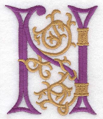 "Embroidery Design: Festive Alphabet N large 2.95""w X 3.53""h"