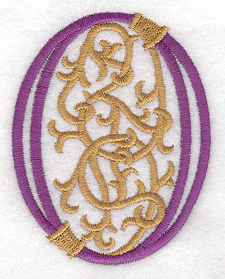 "Embroidery Design: Festive Alphabet O large 2.83""w X 3.55""h"