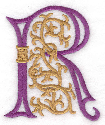 "Embroidery Design: Festive Alphabet R large 2.97""w X 3.55""h"