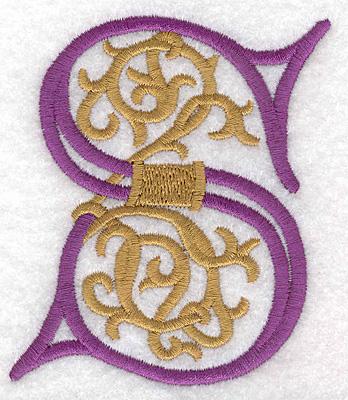 "Embroidery Design: Festive Alphabet S large 3.07""w X 3.55""h"