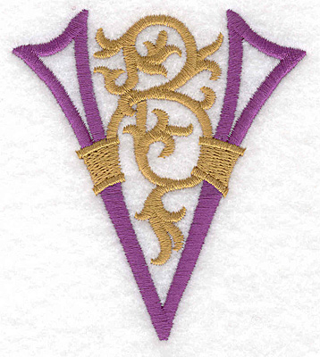 "Embroidery Design: Festive Alphabet V large 3.10""w X 3.50""h"