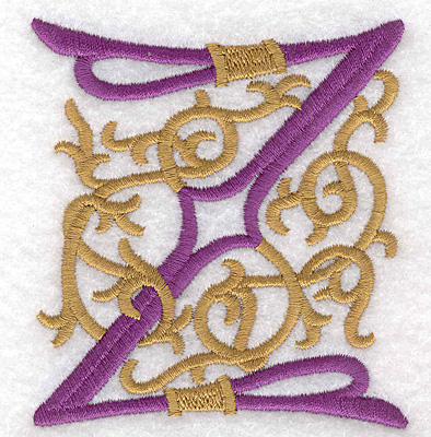 "Embroidery Design: Festive Alphabet Z large 3.23""w X 3.50""h"