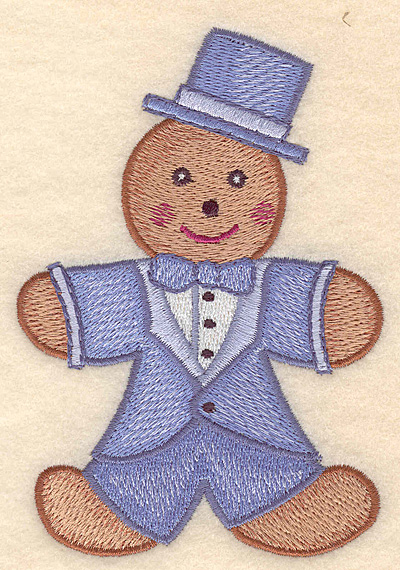 """Embroidery Design: Gingerbread man large 3.44""""w X 5.00""""h"""