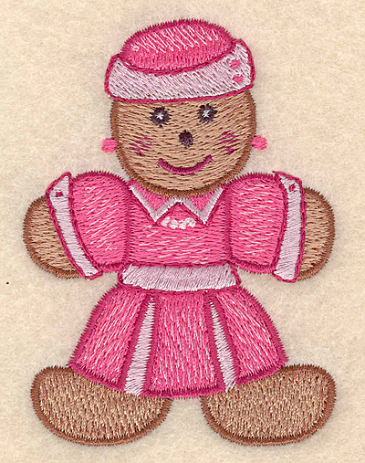 """Embroidery Design: Gingerbread woman small 2.52""""w X 3.39""""h"""