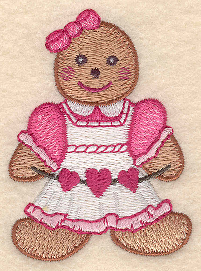 "Embroidery Design: Gingerbread girl small 2.30""w X 3.16""h"