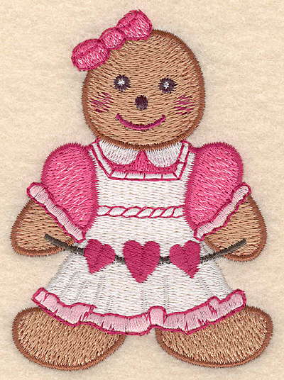 "Embroidery Design: Gingerbread girl large 2.94""w X 4.04""h"