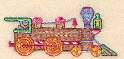 "Embroidery Design: Gingerbread train locomotive small 3.90""w X 1.70""h"