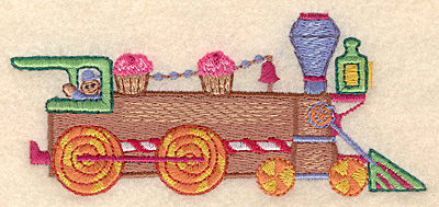 """Embroidery Design: Gingerbread train locomotive large 5.00""""w X 2.18""""h"""