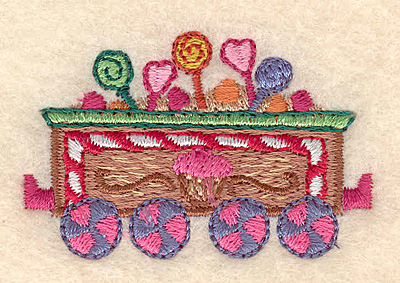 """Embroidery Design: Gingerbread candy train small 2.13""""w X 1.34""""h"""