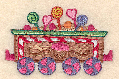 """Embroidery Design: Gingerbread candy train large 2.71""""w X 1.72""""h"""