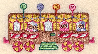 "Embroidery Design: Gingerbread passenger train small 3.22""w X 1.68""h"