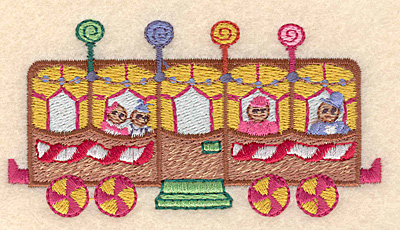 """Embroidery Design: Gingerbread passenger train large 4.12""""w X 2.15""""h"""