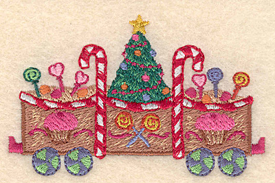 "Embroidery Design: Gingerbread Christmas train small 3.32""w X 2.06""h"