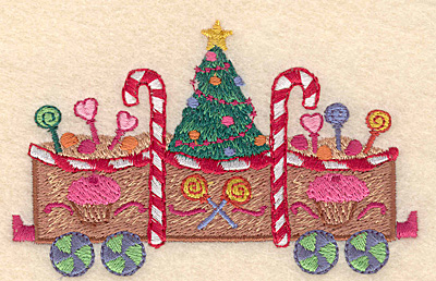 """Embroidery Design: Gingerbread Christmas train large 4.23"""" X 2.64""""h"""