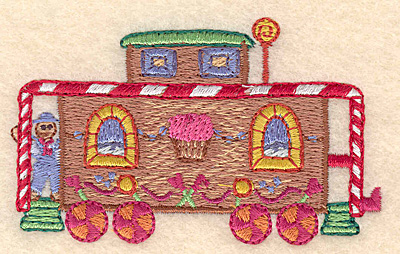 "Embroidery Design: Gingerbread caboose train small 3.28""X 1.97""h"