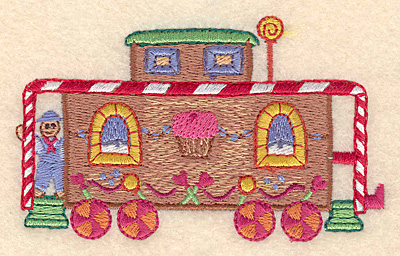 """Embroidery Design: Gingerbread caboose train large 4.20""""X 2.52""""h"""