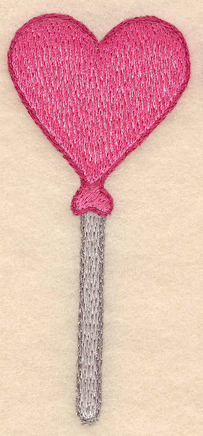 "Embroidery Design: Heart shaped lollipop  1.67""w X 3.86""h"
