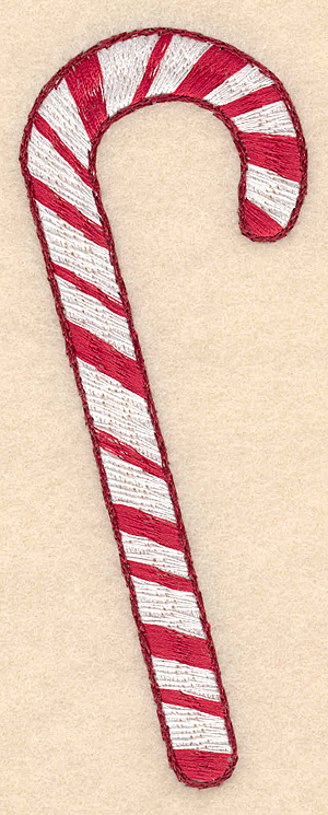 """Embroidery Design: Candy cane large 1.88""""w X 4.99""""h"""