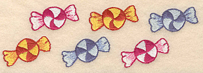 """Embroidery Design: Mint candies border 6.95""""w X 2.23""""h"""