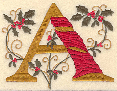 Embroidery Design: Holly Alphabet A 3 inch
