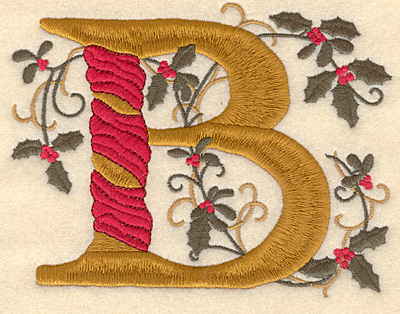 Embroidery Design: Holly Alphabet B 3 inch