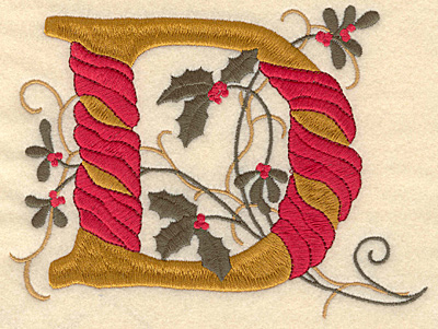 Embroidery Design: Holly Alphabet D 3 inch