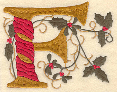 Embroidery Design: Holly Alphabet F 3 inch