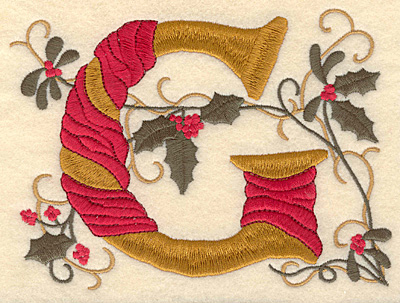 Embroidery Design: Holly Alphabet G 3 inch