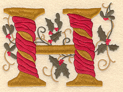 Embroidery Design: Holly Alphabet H 3 inch