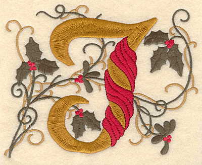 Embroidery Design: Holly Alphabet J 3 inch