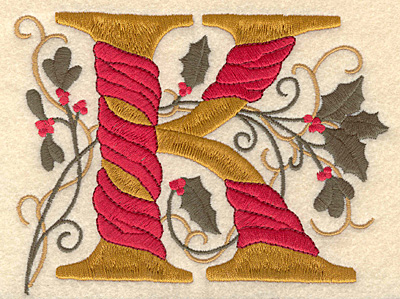 Embroidery Design: Holly Alphabet K 3 inch