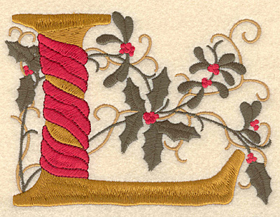 Embroidery Design: Holly Alphabet L 3 inch