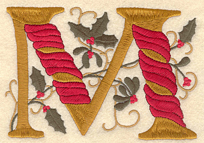 Embroidery Design: Holly Alphabet M 3 inch