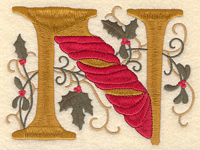 Embroidery Design: Holly Alphabet N 3 inch