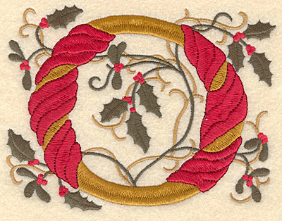 Embroidery Design: Holly Alphabet O 3 inch