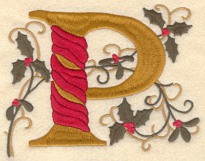 Embroidery Design: Holly Alphabet P 3 inch