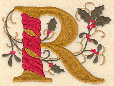 Embroidery Design: Holly Alphabet R 3 inch
