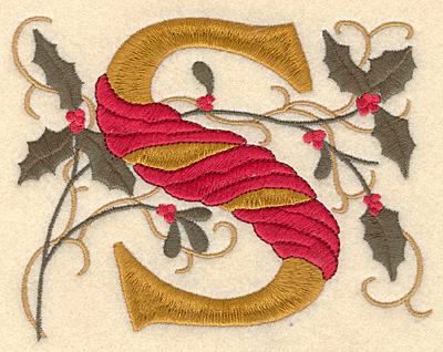 Embroidery Design: Holly Alphabet S 3 inch