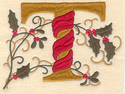 Embroidery Design: Holly Alphabet T 3 inch