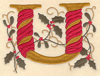Embroidery Design: Holly Alphabet U 3 inch