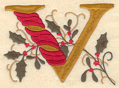 Embroidery Design: Holly Alphabet V 3 inch