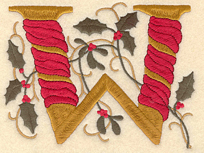 Embroidery Design: Holly Alphabet W 3 inch
