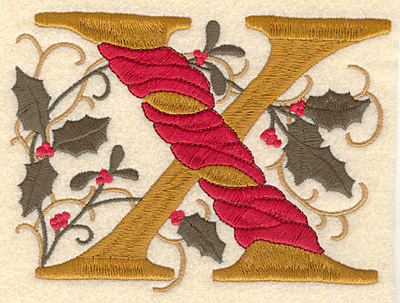 Embroidery Design: Holly Alphabet X 3 inch