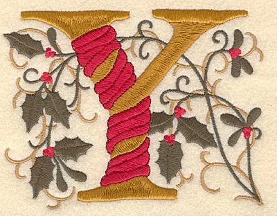 Embroidery Design: Holly Alphabet Y 3 inch