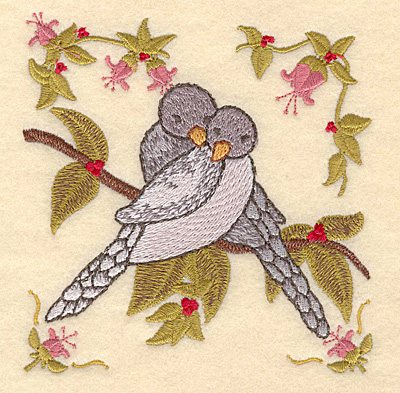 Embroidery Design: B Two turtle doves4.81w X 5.00h