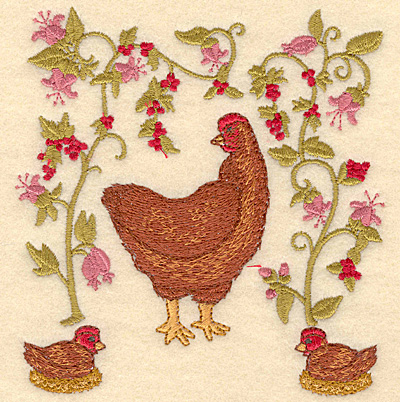 Embroidery Design: C Three French hens4.80w X 5.00h