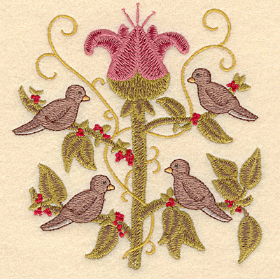 Embroidery Design: D Four calling birds4.68w X 5.00h