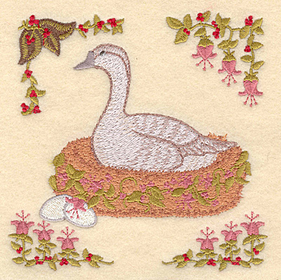 Embroidery Design: F Six geese a-laying4.98w X 5.00h