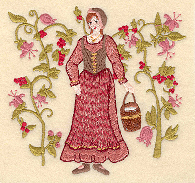 Embroidery Design: H Eight maids a-milking4.73w X 5.00h