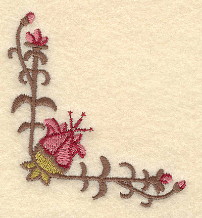 Embroidery Design: Floral corner3.02w X 3.06h